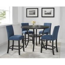See Details - Biony Espresso Wood Counter Height Dining Set with Blue Fabric Nailhead Stools