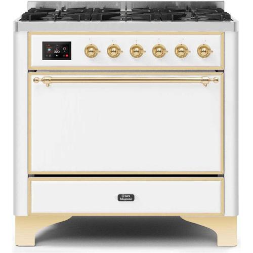 Product Image - Majestic II 36 Inch Dual Fuel Liquid Propane Freestanding Range in White with Brass Trim