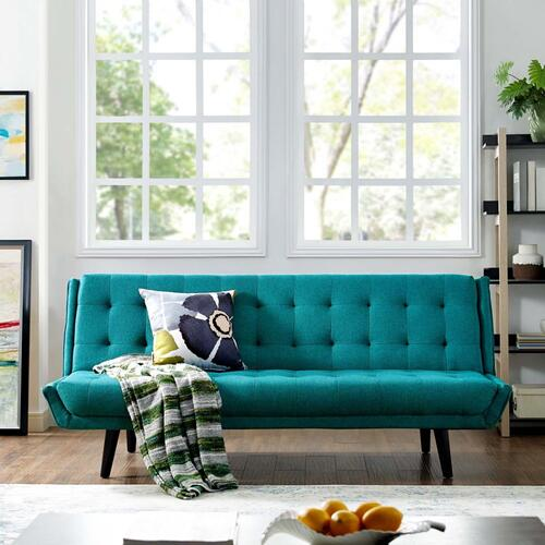 Modway - Glance Tufted Convertible Fabric Sofa Bed in Teal