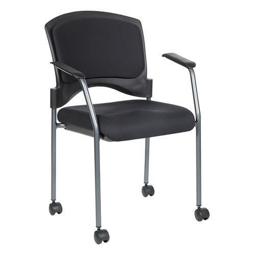 Titanium Finish Rolling Visitors Chair