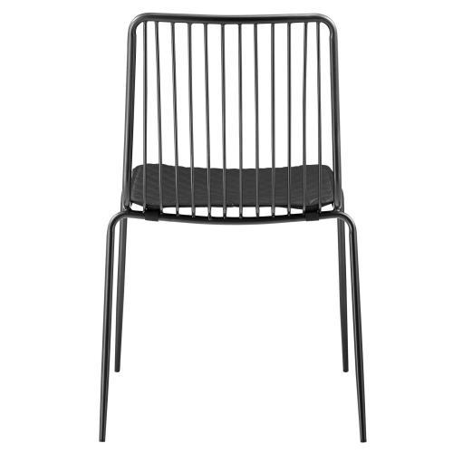 Thomas Metal Chair Black Cushion, Metallic Gunmetal