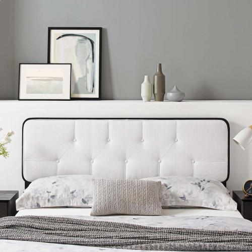 Collins Tufted King Fabric and Wood Headboard in Black White