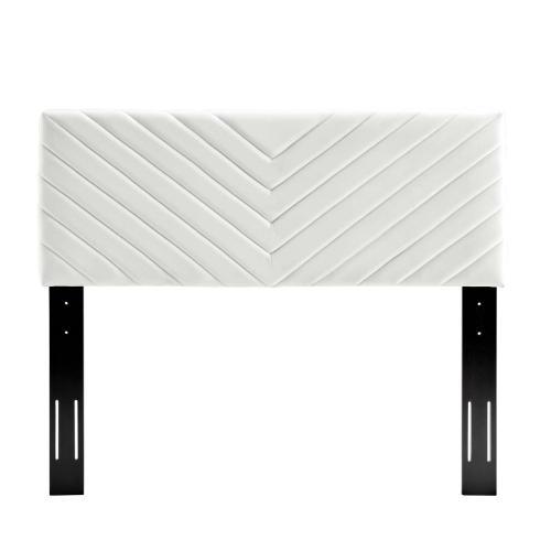 Alyson Angular Channel Tufted Performance Velvet King / California King Headboard in White