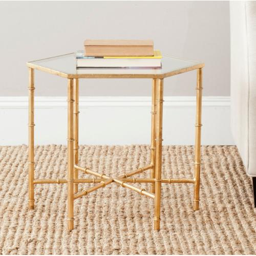 Product Image - Kerri Gold Leaf Mirror Top Accent Table - Gold / Clear