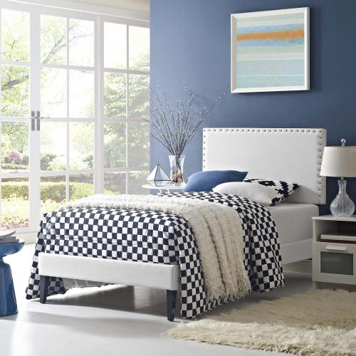 Modway - Macie Twin Vinyl Platform Bed with Squared Tapered Legs in White
