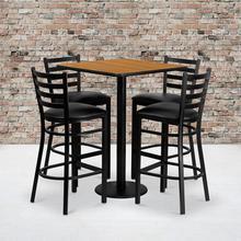 Product Image - 30'' Square Natural Laminate Table Set with 4 Ladder Back Metal Barstools - Black Vinyl Seat