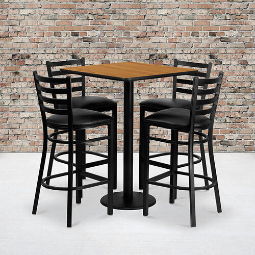 Flash Furniture - 30'' Square Natural Laminate Table Set with 4 Ladder Back Metal Barstools - Black Vinyl Seat