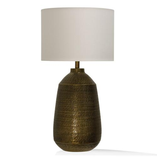 TEXTURED ANTIQUE BRASS  16in w. X 32in ht. X 16in d.  Metal Base Table Lamp with Round Linen Drum