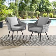 Endeavor Armchair Outdoor Patio Wicker Rattan Set of 2 in Gray Gray