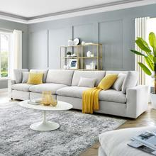 Commix Down Filled Overstuffed Performance Velvet 4-Seater Sofa in Light Gray