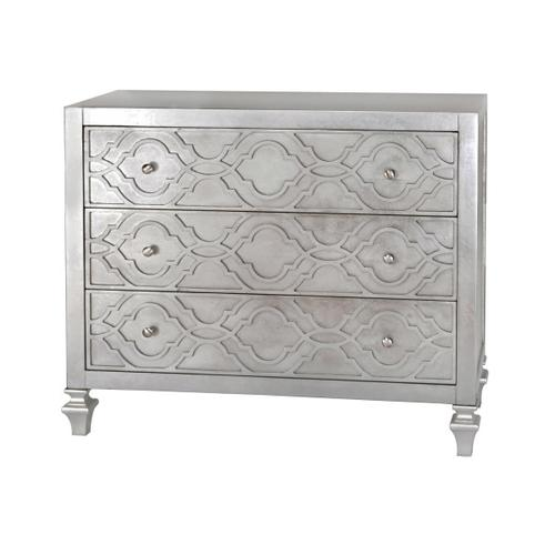 Woven Trellis Three Drawer Accent Chest in Silver Leaf
