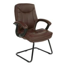 Mid-back Faux Leather Visitor's Chair With Padded Arms and Black Base