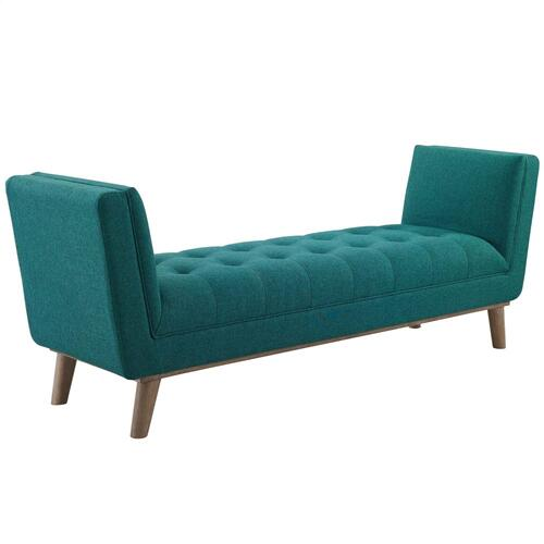 Haven Tufted Button Upholstered Fabric Accent Bench in Teal