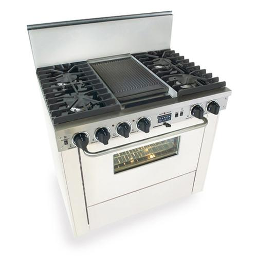 """Five Star - 36"""" Dual Fuel, Convect, Self-Clean, Sealed Burners, White"""