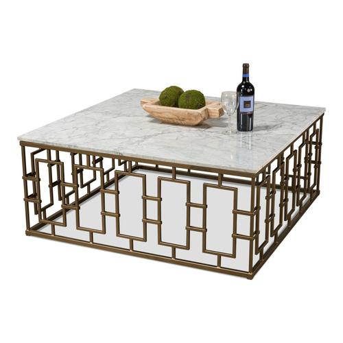Brass Gate Cocktail Table W/ Wht Marble