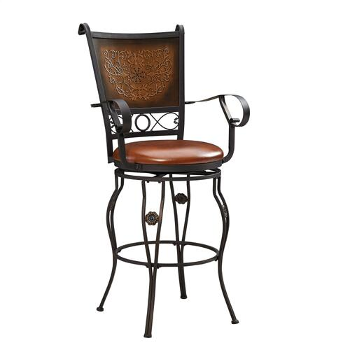 Upholstered Seat and Copper Stamped Back Swivel Barstool With Arms, Bronze Powder Coat
