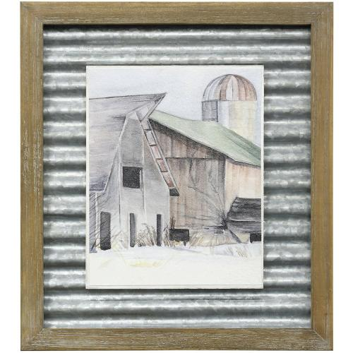 Style Craft - WINTER BARN II  16in X 14in  Made in the USA  Textured Framed Print