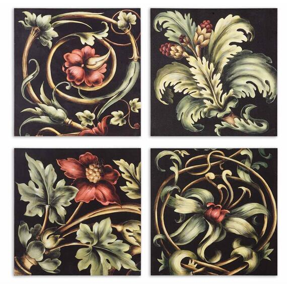 Vibrant Floral Square I, II, III, IV