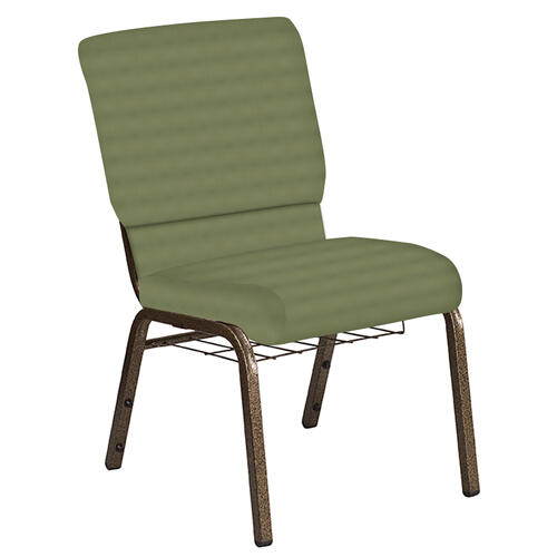 Flash Furniture - 18.5''W Church Chair in Harmony Sea Green Fabric with Book Rack - Gold Vein Frame