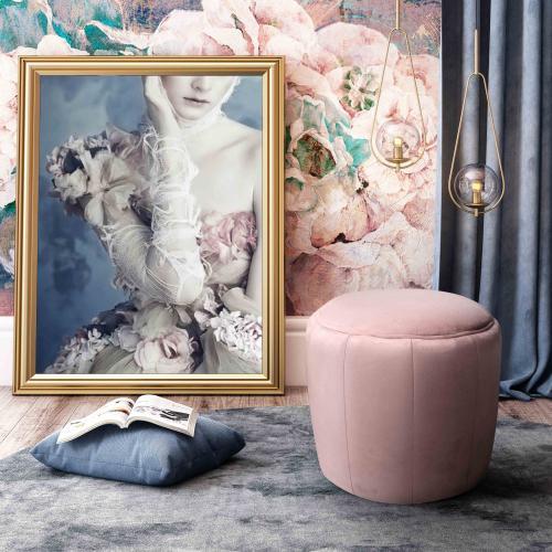 Tov Furniture - Ives Blush Velvet Ottoman