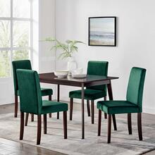 Prosper 5 Piece Upholstered Velvet Dining Set in Cappuccino Green