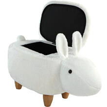 "Critter Sitters 15"" Seat Height White Easter Bunny Animal Shape Storage Ottoman Furniture for Nursery, Bedroom, Playroom & Living Room Decor, CSBUNSTOTT-WHT"