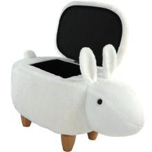 "See Details - Critter Sitters 15"" Seat Height White Easter Bunny Animal Shape Storage Ottoman Furniture for Nursery, Bedroom, Playroom & Living Room Decor, CSBUNSTOTT-WHT"