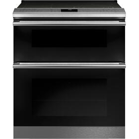 """Café™ 30"""" Smart Slide-In, Front-Control, Radiant and Convection Double-Oven Range in Platinum Glass"""