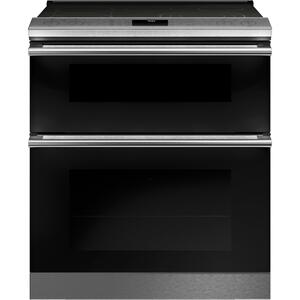 "Cafe30"" Smart Slide-In, Front-Control, Radiant and Convection Double-Oven Range in Platinum Glass"