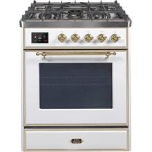 30 Inch White Dual Fuel Natural Gas Freestanding Range