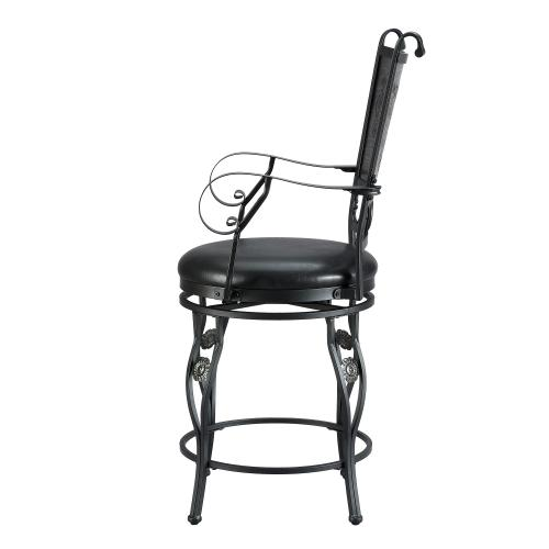 Upholstery Seat and Swivel Counter Stool, Matte Black and Grey