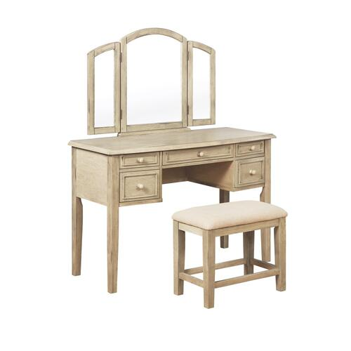 5-drawer Vanity and Upholstery Seat Stool, Brown