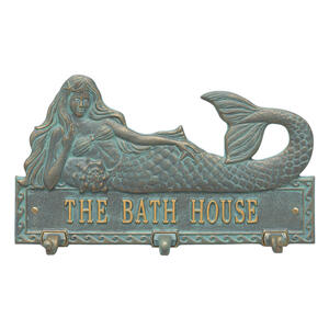 Personalized Mermaid Hook Plaque - Bronze Verdigris Product Image