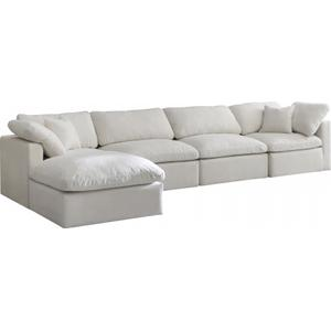 "Plush Velvet Standard Cloud Modular Down Filled Overstuffed Reversible Sectional - 140"" W x 70"" D x 32"" H"