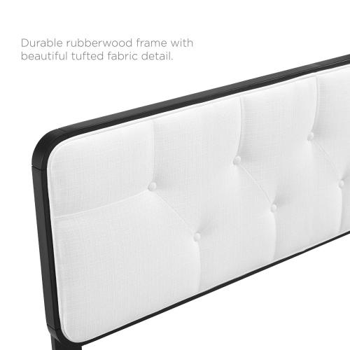Collins Tufted Queen Fabric and Wood Headboard in Black White