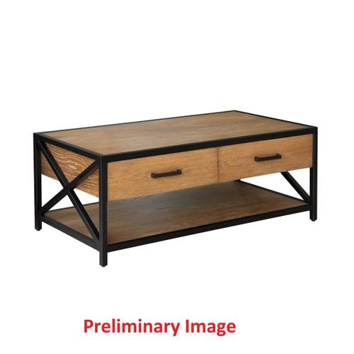 Light Brown Metal Framed Two Drawer Cocktail Table