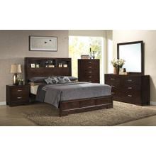 Montana 5-PC Walnut Modern Wood Bedroom Set King and Queen Bed Dresser&Mirror Nightstand Chest, King