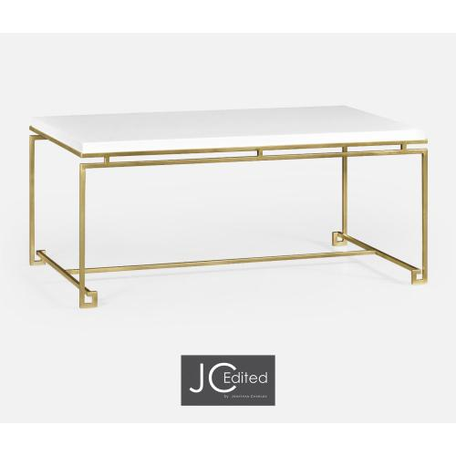 Gilded Iron Rectangular Coffee Table with Biancaneve Top