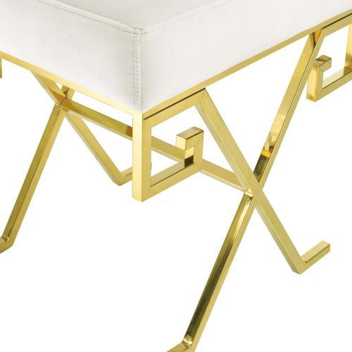 Modway - Twist Performance Velvet Bench in Gold Ivory