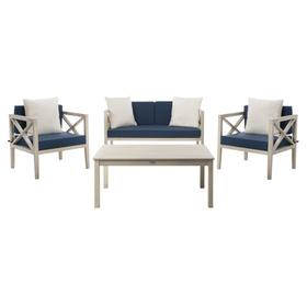 Nunzio 4 PC Outdoor Set With Accent Pillows - White / Navy