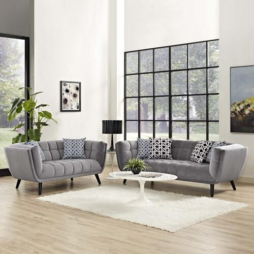 Bestow 2 Piece Performance Velvet Sofa and Loveseat Set in Gray