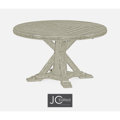 """53"""" Rustic Grey Parquet Round-To-Oval Dining Table"""