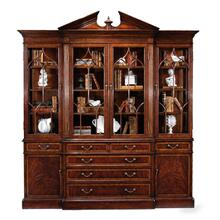 Mahogany glazed triple display cabinet drawers to base