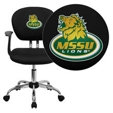 Missouri Southern State University Lions Embroidered Black Mesh Task Chair with Arms and Chrome Base