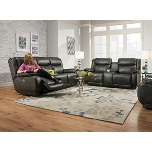 Leather Double Reclining Sofa with Power Headrest