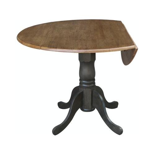 Round Dropleaf Pedestal Table in Hickory Coal