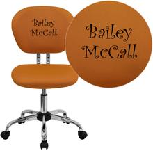 Embroidered Mid-Back Orange Mesh Swivel Task Chair with Chrome Base