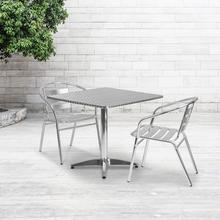 See Details - 31.5'' Square Aluminum Indoor-Outdoor Table Set with 2 Slat Back Chairs