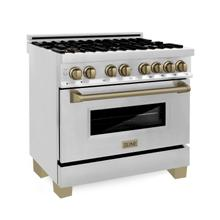 """See Details - ZLINE Autograph Edition 36"""" 4.6 cu. ft. Dual Fuel Range with Gas Stove and Electric Oven in Stainless Steel with Champagne Bronze Accents (RAZ-36-CB)"""
