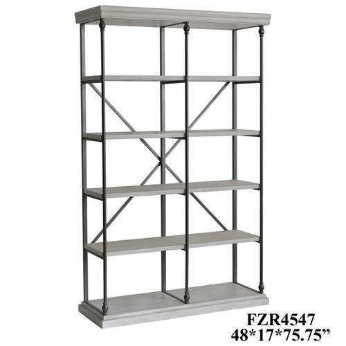Crestview Collections - Hanover Metal and White Wood Bookshelf